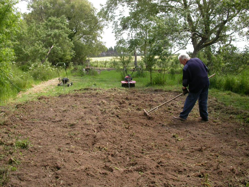 man preparing soil for lawn