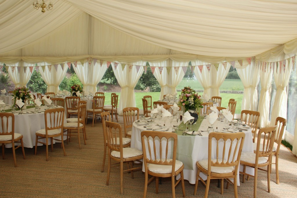 wedding venue with tables