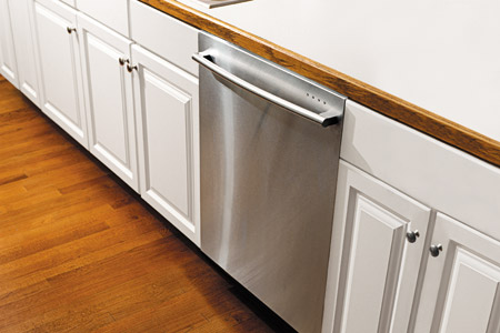 silver dishwasher and white counters