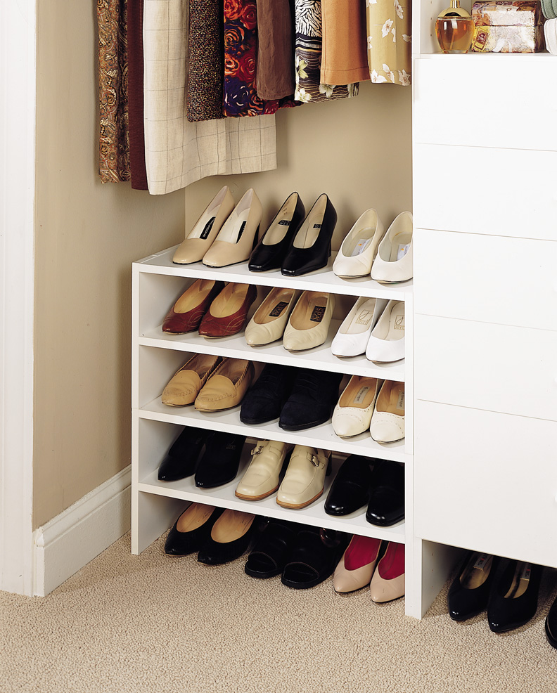 Beau White Shoe Shelves In Closet