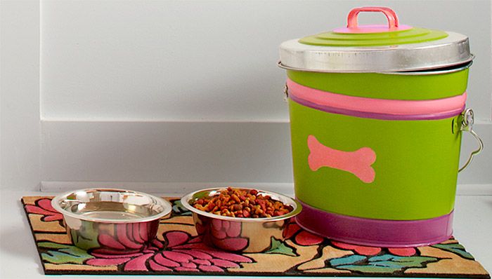dog food container and bowls
