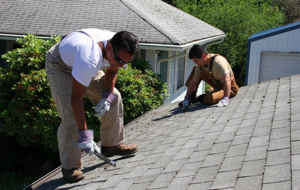 two men cleaning roof