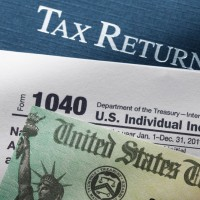 tax refund form and check