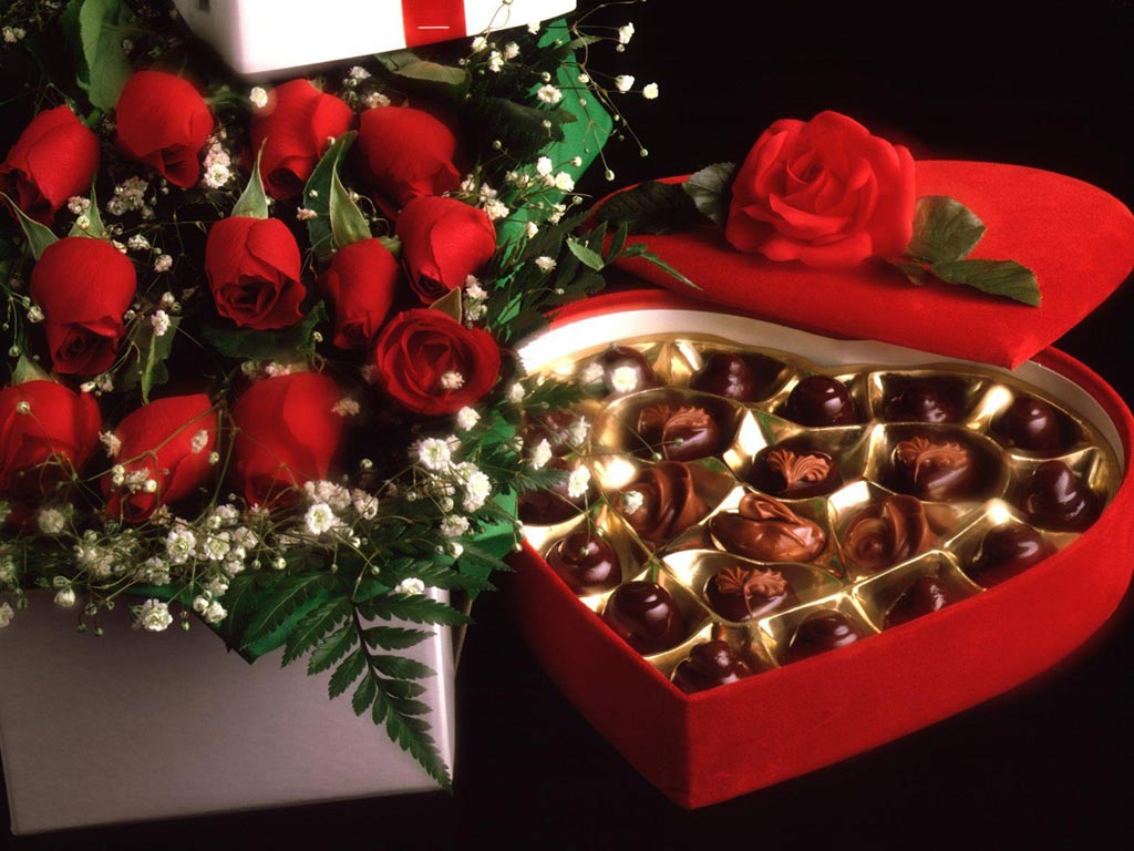 Valentine's Day flowers and chocolale