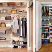 organized closet and pantry