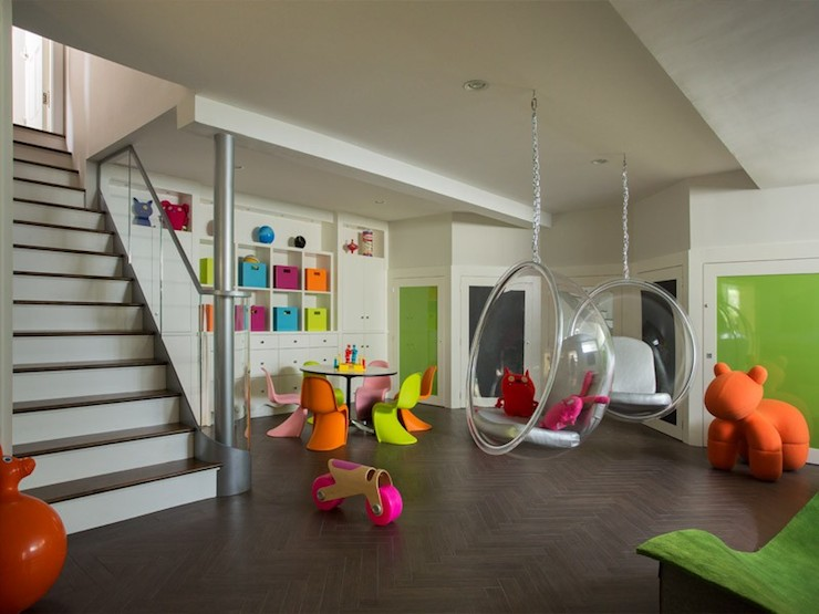 contemporary remodeled basement playroom