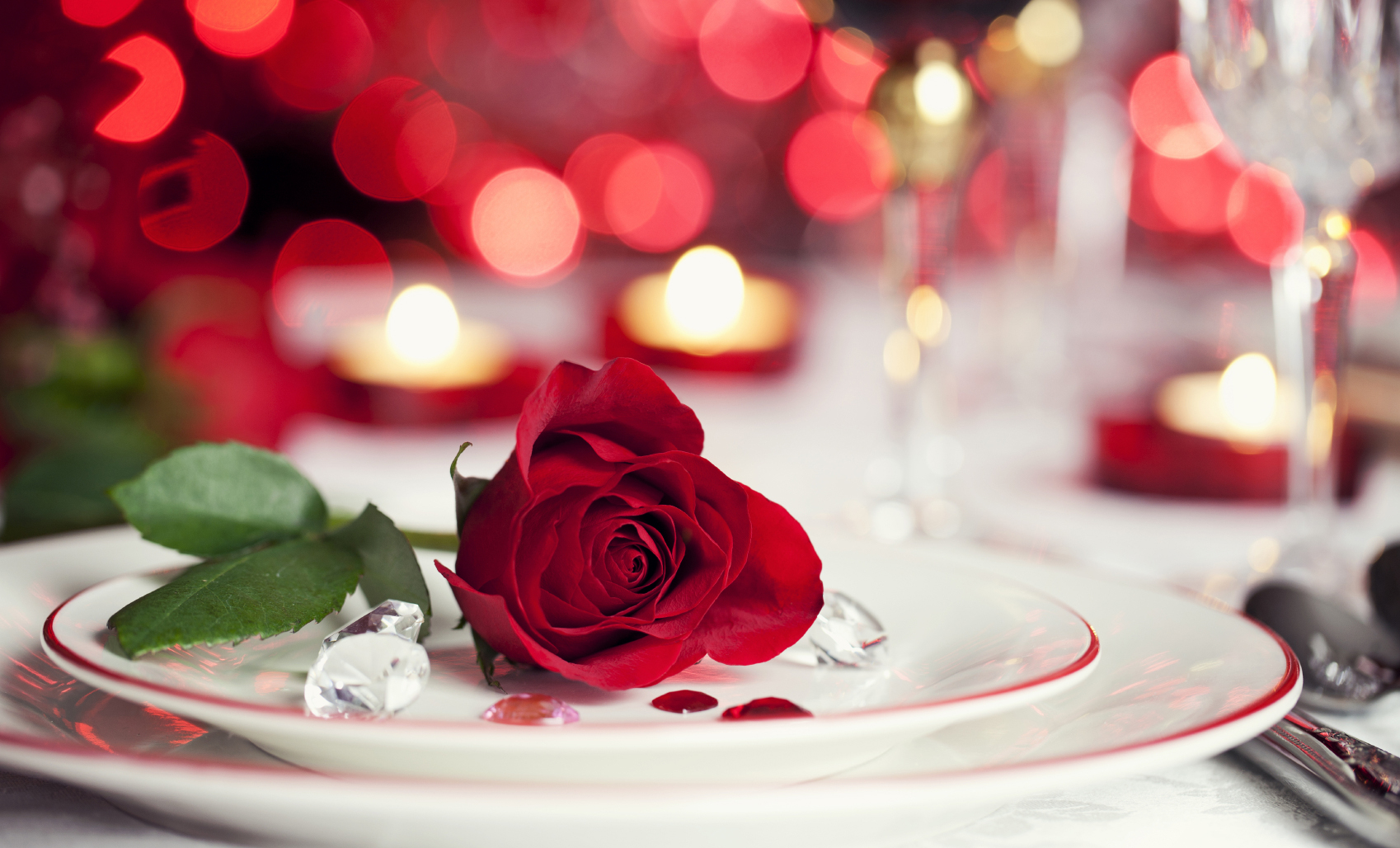 valentines-dinner plate with a rose