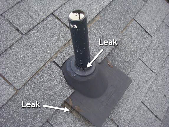 ... roof leak near the vent