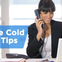 woman with a phone at the laptop cold calling banner
