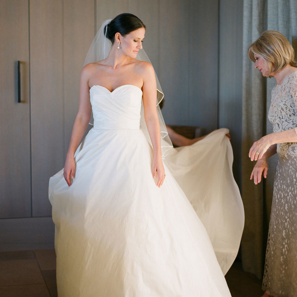 save money on a wedding dress bride tailoring the dress