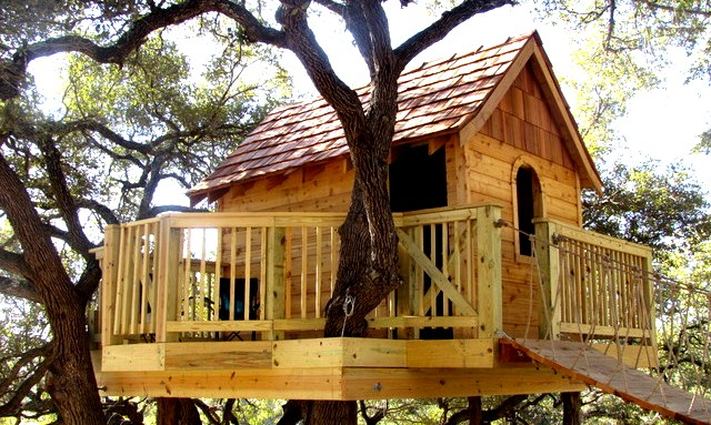 wooden tree house for kids