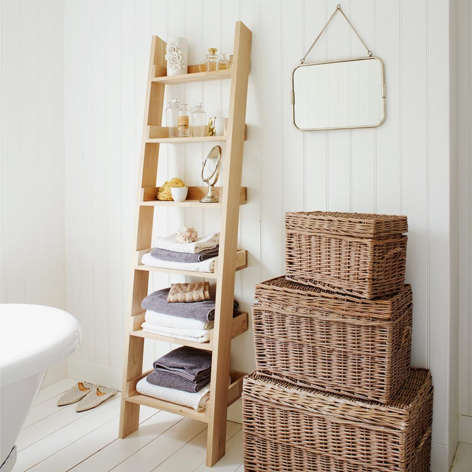 a ladder storage in bathroom