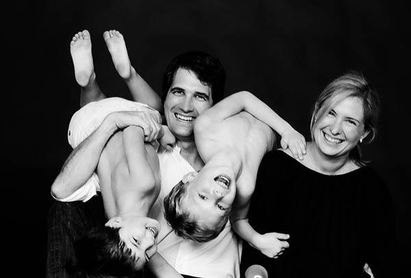 black and white fun family photo