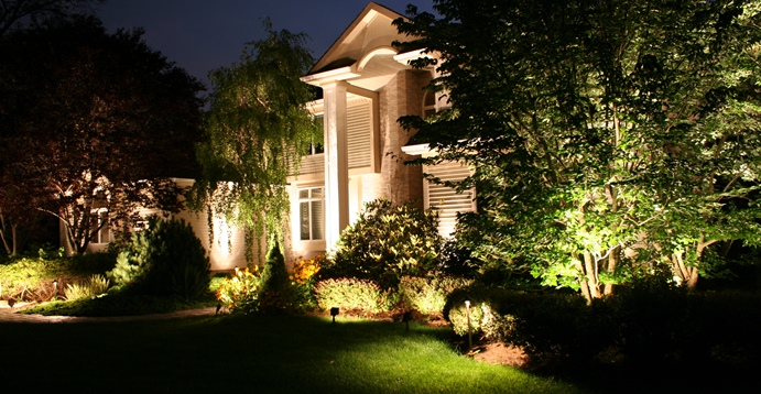 House With Landscape Lights