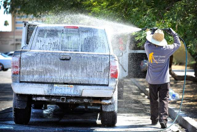 mobile car wash in action