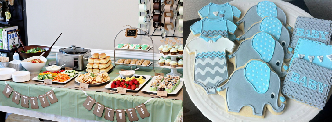 baby shower food table setup and cookies