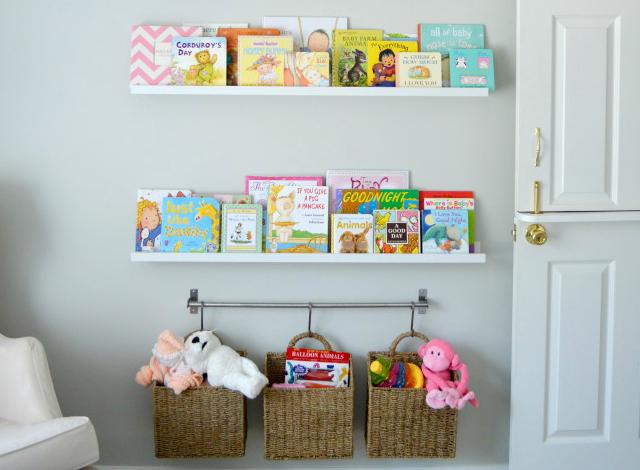 ... Nursery Orrganization Baskets Hanging On A Rack
