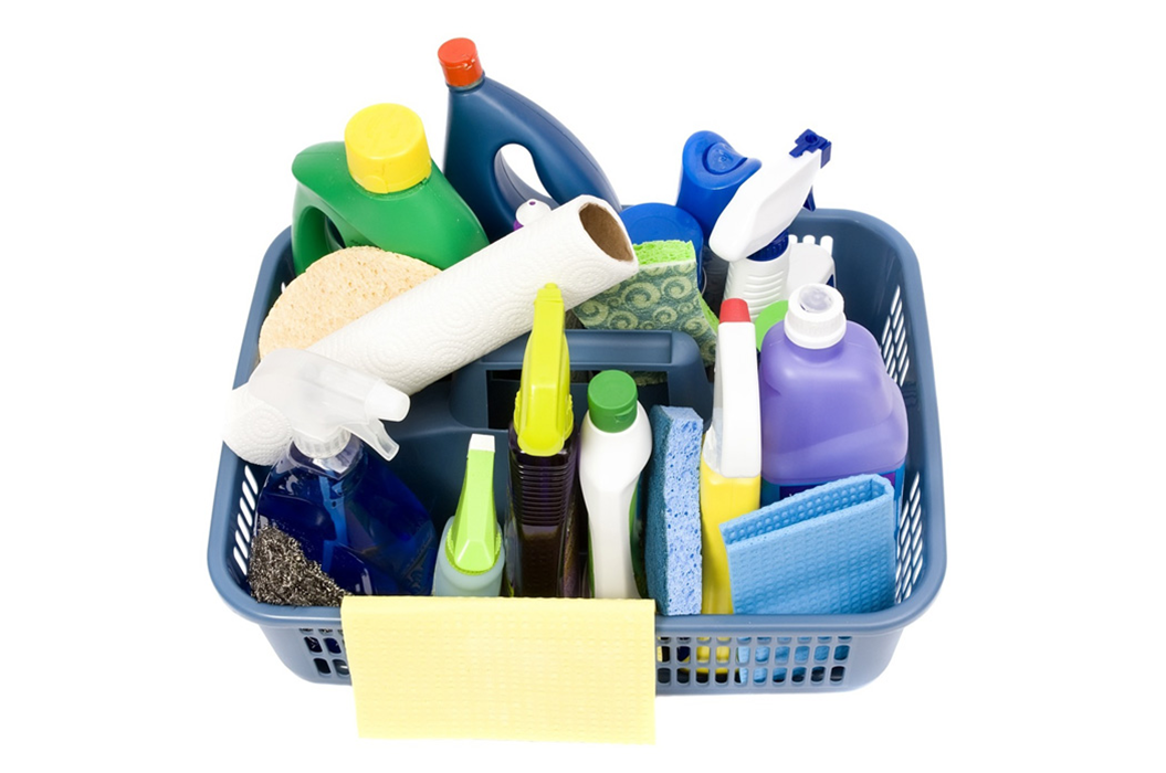 bucket with bathroom cleaning supplies - Bathroom Cleaning Supplies