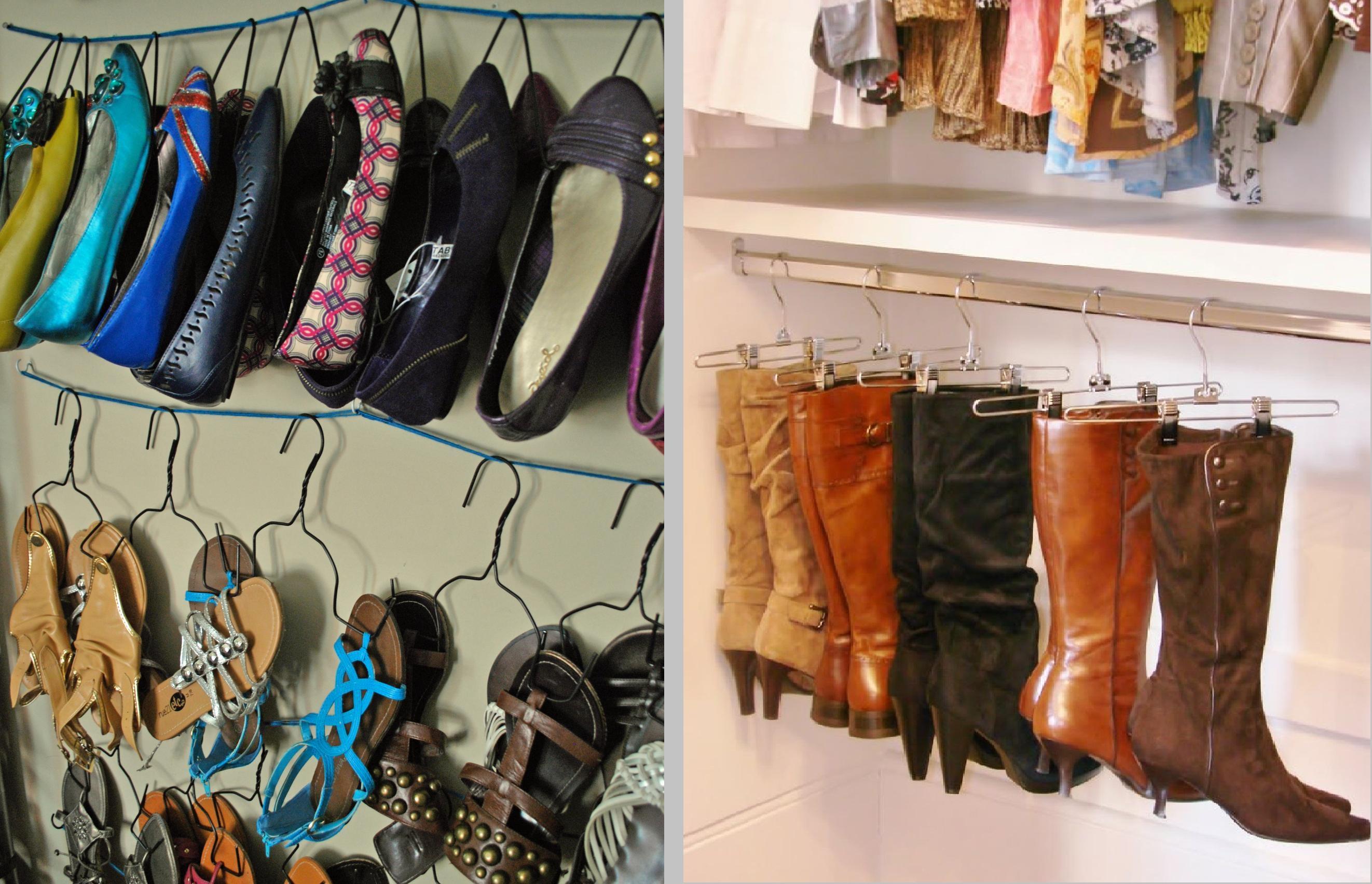 DIY Shoe Storage Idea Shoes On Hangers