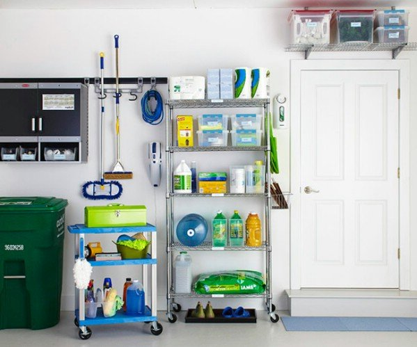 organized cleaning supplies in garage