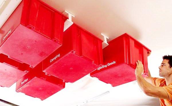 ceiling storage bins in garage