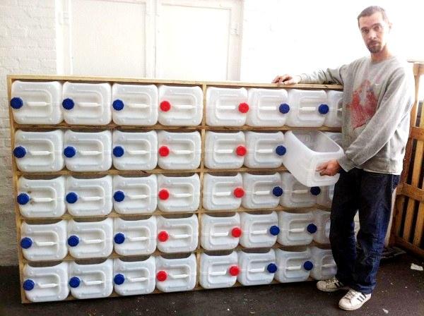 diy plastic bottle drawer storage unit in garage