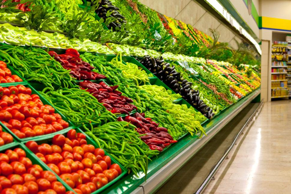vegetable aisle in supermarket