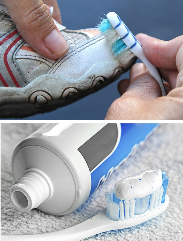 ... cleaning white shoes with toothpaste