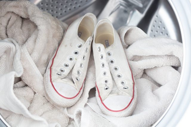 white converse in washing machine