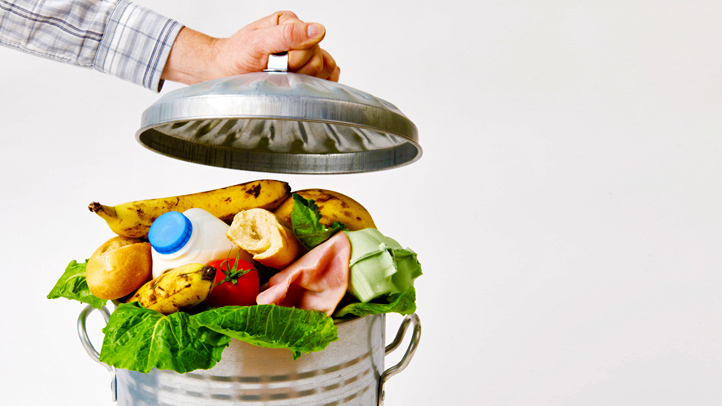 food in trash can
