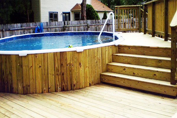 How to build a pool deck hirerush blog for Deck from house to above ground pool