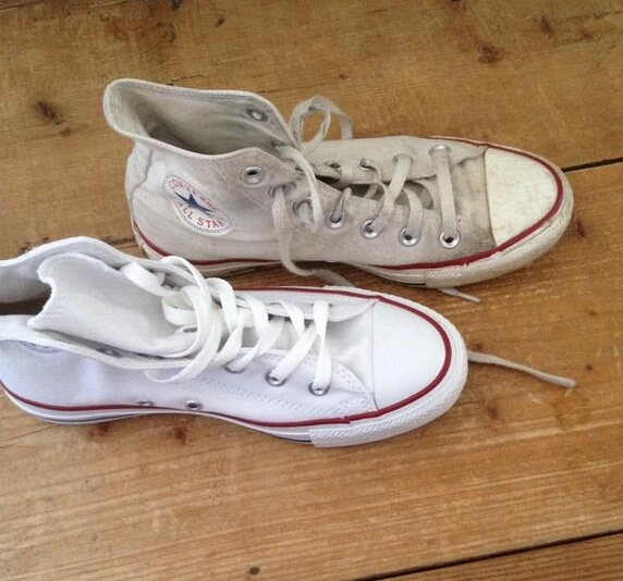 how do you clean white converse shoes