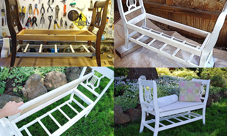 ... Diy Bench Made From Old Wooden Chairs Repurposed Furniture Idea