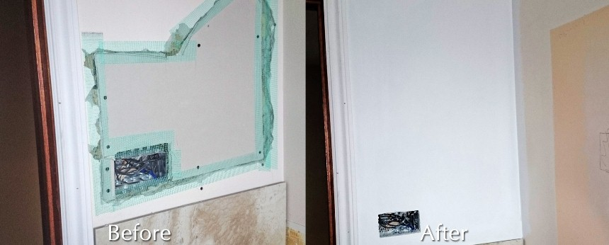 drywall hole repair before and after