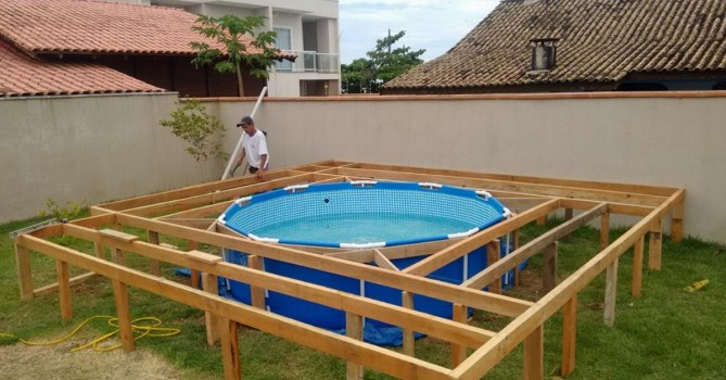6 steps to build an above ground pool deck - Above Ground Pool Steps Wood
