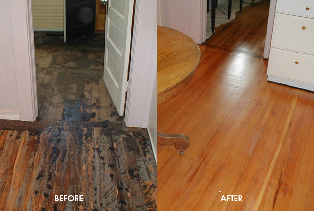 Heavily Damaged Hardwood Floors Refinished Before And After