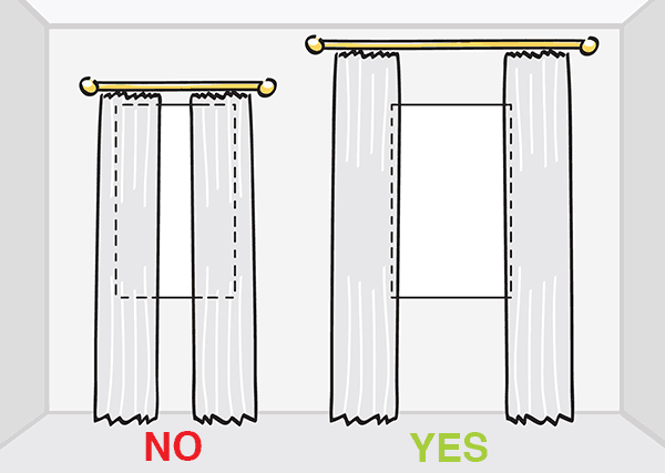 Image result for correct drapery rod placement diagram
