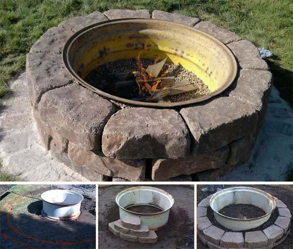 diy wall block fire pit