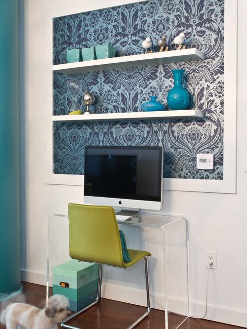 wallpaper behind the shelves