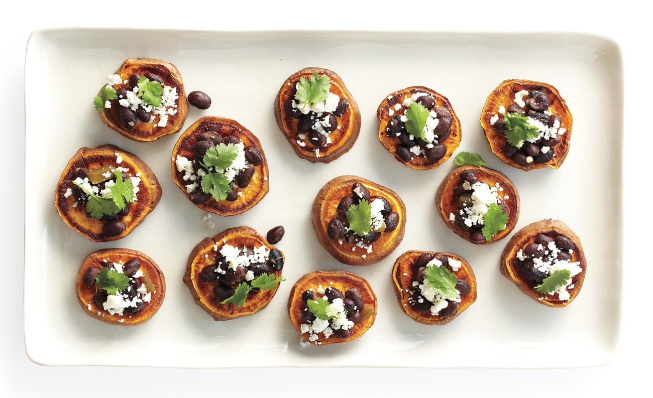 sweet potato and black beans bites thanksgiving appetizer