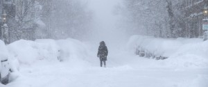 person in the middle of a snow storm