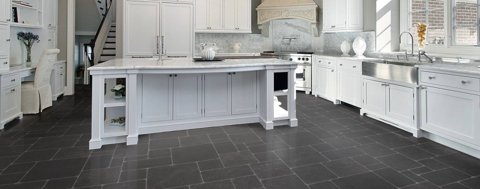 Gentil Ceramic Tile Floor In Kitchen