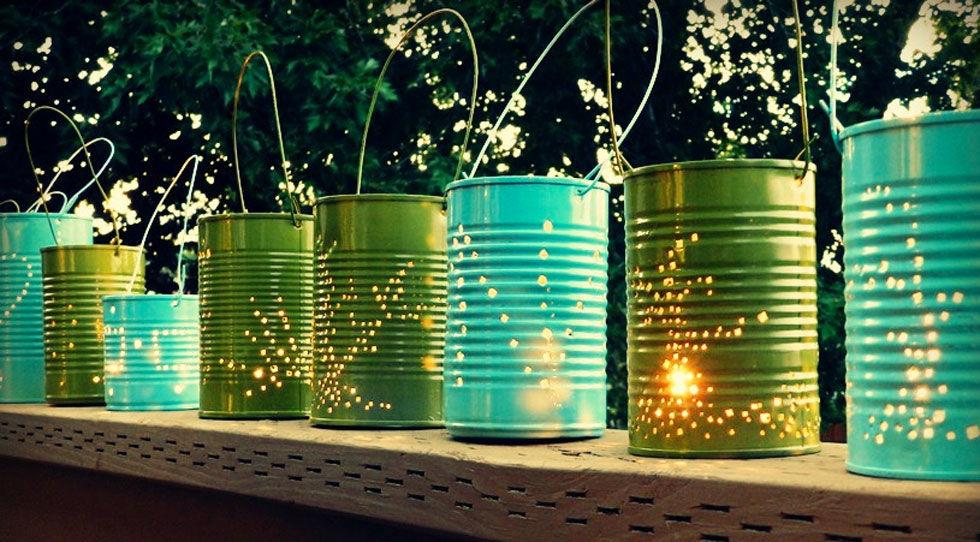 DIY tin can lanterns