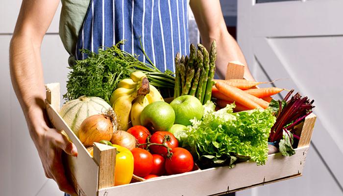 gardener with organic food