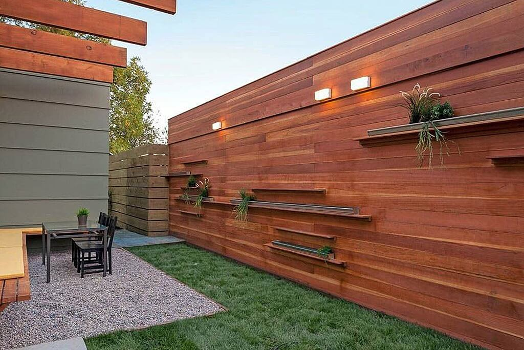 ... Contemporary Wood Privacy Fence