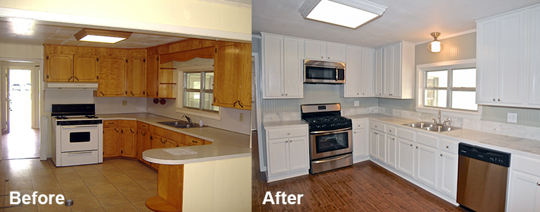 refinishing kitchen cabinets without stripping before and after. beautiful ideas. Home Design Ideas