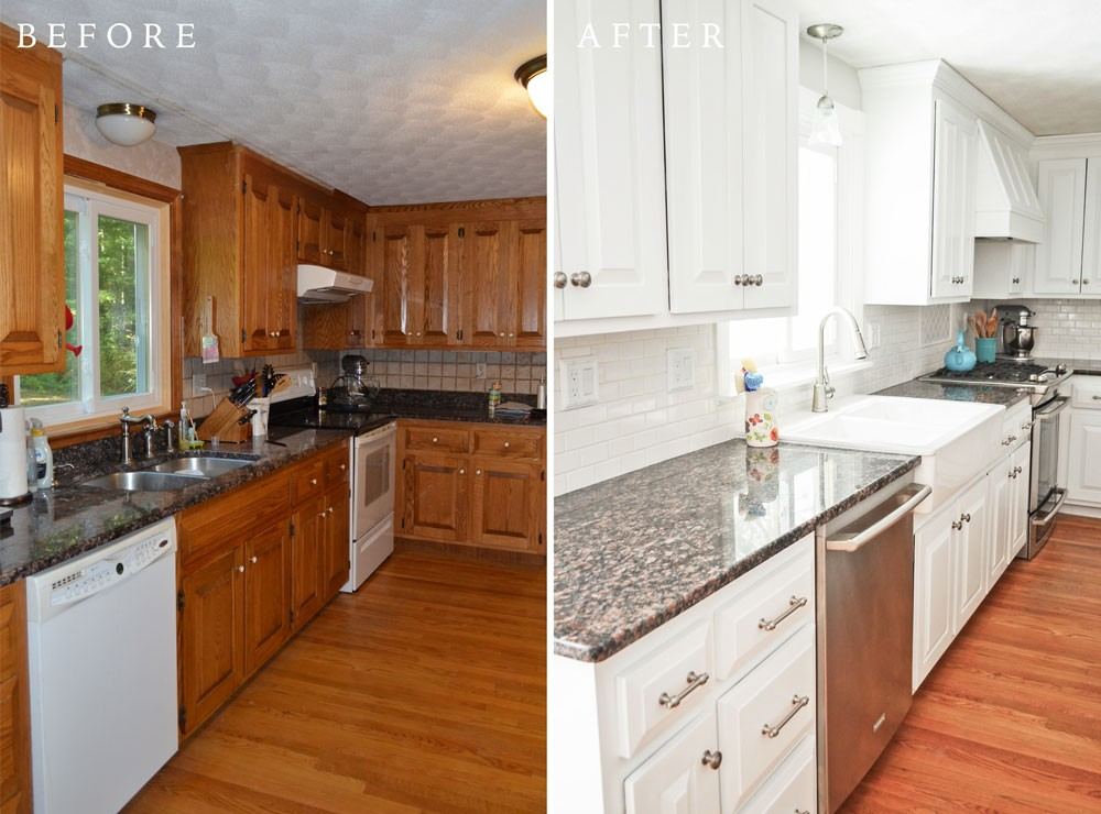 Genial ... Refinishing Kitchen Cabinets Before And After