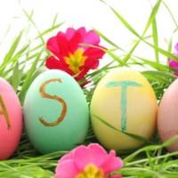 word Easter written on eggs
