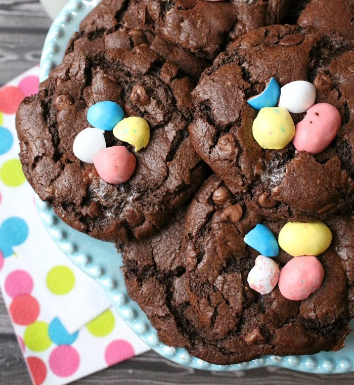 chocolate Easter cookies with mini eggs