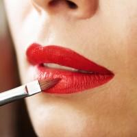 Lip makeup, red lipstick, lipstick brush, beautiful young brunet